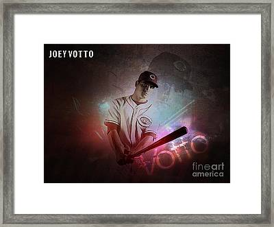 Joey Votto Framed Print by Marvin Blaine