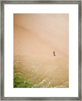 Jogger On Tallow Beach  Framed Print by Rob Huntley