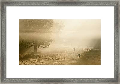 Joggers In Richmond Park London On A Crisp Foggy Autumn Morning Framed Print by Matthew Gibson