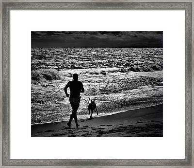 Joggin Wit Dad Framed Print by Robert McCubbin