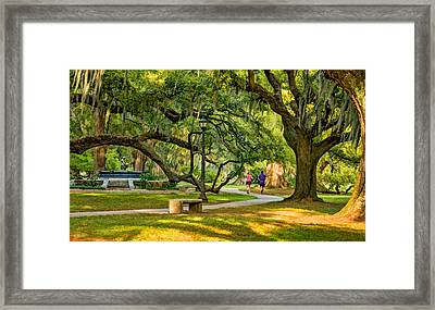 Jogging In City Park Framed Print by Steve Harrington