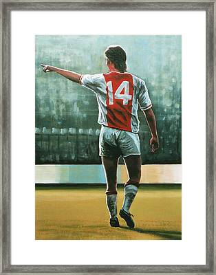 Johan Cruijff Nr 14 Painting Framed Print by Paul Meijering