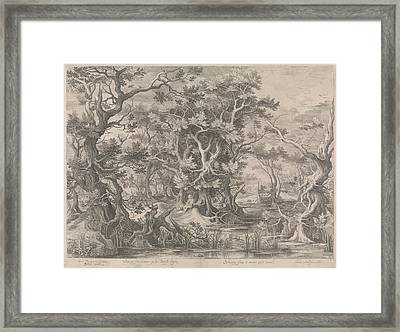 Johannes De Doper Praying In A Morass Landscape Framed Print