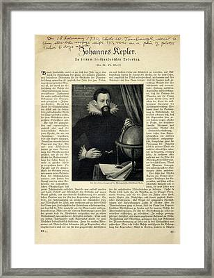 Johannes Kepler Framed Print by Detlev Van Ravenswaay