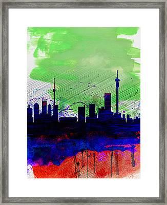 Johannesburg Watercolor Skyline Framed Print by Naxart Studio