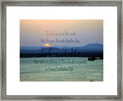 John 3 16 Lake Sunset Framed Print