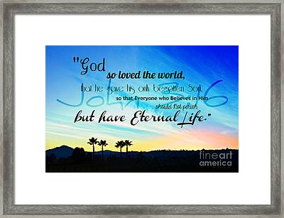 John 3 16 With Palm Trees  Framed Print