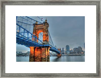 John A Roebling Suspension Bridge Cincinnati Ohio Framed Print