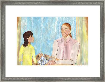 John And Jaz Play Chess Framed Print by Sushila Burgess