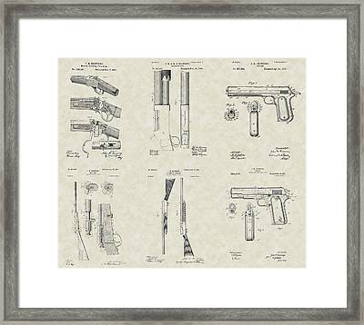 John Browning Firearms Patent Collection Framed Print