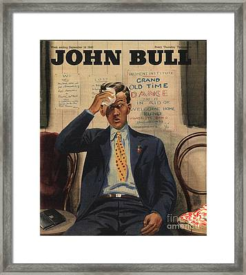 John Bull 1946 1940s Uk Tired Exhausted Framed Print by The Advertising Archives