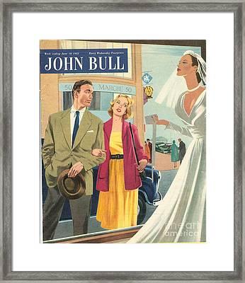 John Bull 1950s Uk Marriages Shopping Framed Print by The Advertising Archives