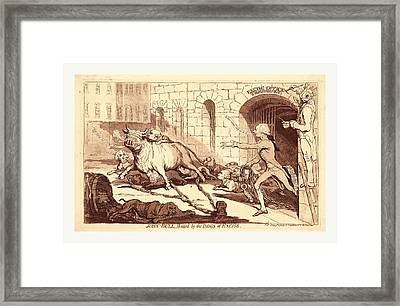 John Bull, Baited By The Dogs Of Excise, En Sanguine Framed Print by English School