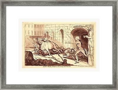John Bull, Baited By The Dogs Of Excise, En Sanguine Framed Print