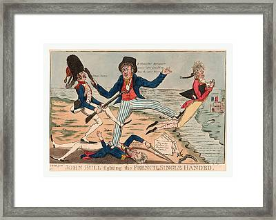 John Bull Fighting The French Single Handed Framed Print by French School