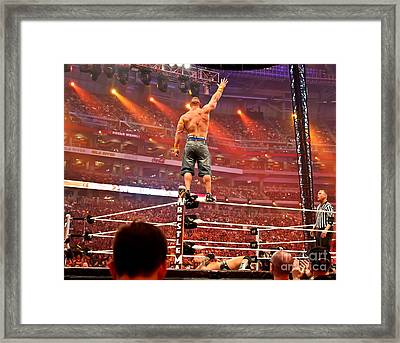 John Cena Vs. Batista - Wrestlemania 26 Framed Print by Wrestling Photos