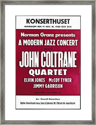 John Coltrane Quartet In Sweden Framed Print by Bill Cannon
