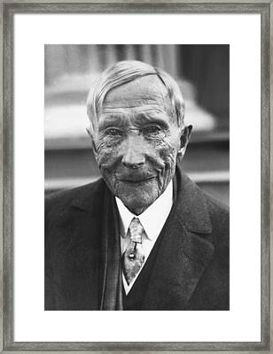 John D. Rockefeller At 88 Framed Print by Underwood Archives