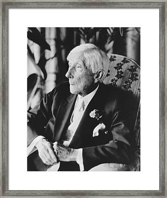 John D. Rockefeller At 96 Framed Print by Underwood Archives
