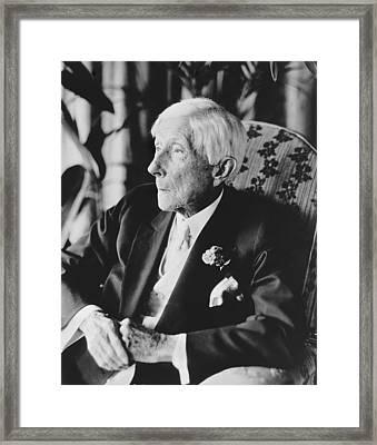 John D. Rockefeller At 96 Framed Print by Underwood Archives