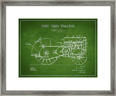 John Deer Tractor Patent Drawing From 1930 - Green Framed Print