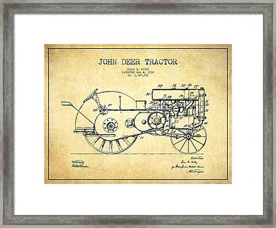 John Deer Tractor Patent Drawing From 1930 - Vintage Framed Print by Aged Pixel