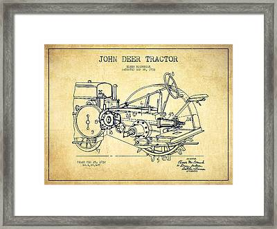 John Deer Tractor Patent Drawing From 1933 - Vintage Framed Print