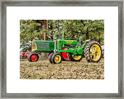 John Deere 1935 General Purpose Tractor With Oliver Row Crop 77 Framed Print by Jon Woodhams