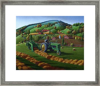 Rustic John Deere Farm Tractor Baling Hay - Rural Country Folk Art Landscape - Summer Americana Framed Print by Walt Curlee