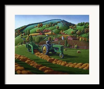 Tennessee Hay Bales Paintings Framed Prints