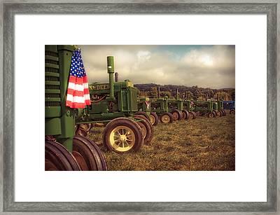John Deere Line-up Framed Print by Patsy Zedar