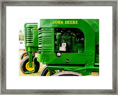 John Deere Model L With Model G Behind Framed Print by Jon Woodhams