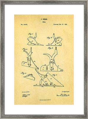 John Deere Plow Patent Art 1865 Framed Print by Ian Monk