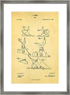 John Deere Plow Patent Art 1865 Framed Print by Ian Monk