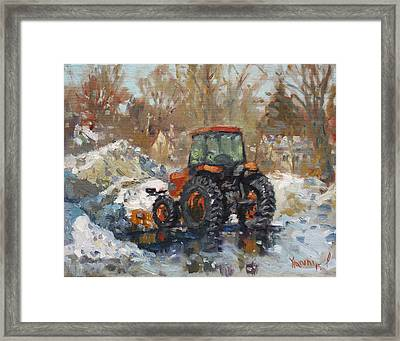 John Deere Taking A Brake Framed Print by Ylli Haruni
