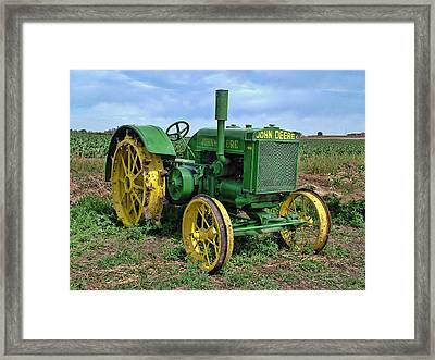 John Deere Tractor Hdr Framed Print by Ken Smith