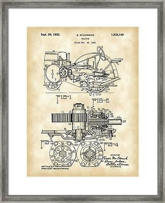 John Deere Tractor Patent 1932 - Vintage Framed Print