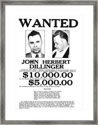 John Dillinger Wanted Poster, 1934 Framed Print by Science Source