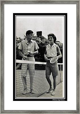 John F Kennedy And Jacqueline Bouvier Playing Tennis Framed Print by Audreen Gieger
