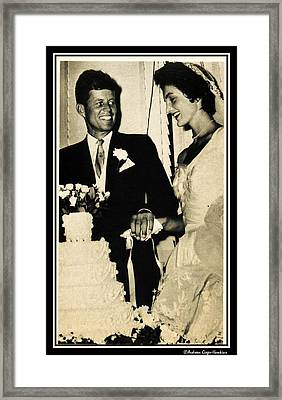 John F Kennedy And Jacqueline Cut Wedding Cake Framed Print by Audreen Gieger