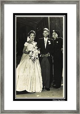 John F Kennedy And Jacqueline On Wedding Day Framed Print