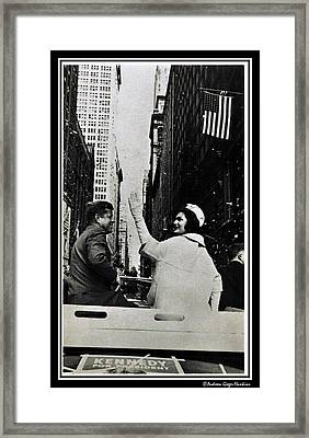 John F Kennedy And Jacqueline Ticker Tape Parade Framed Print by Audreen Gieger
