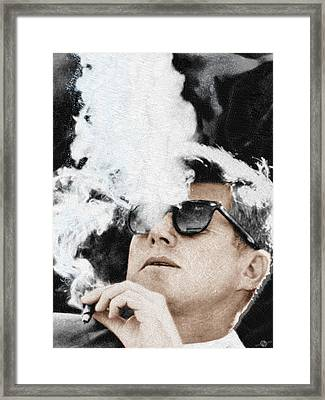 John F Kennedy Cigar And Sunglasses Framed Print by Tony Rubino