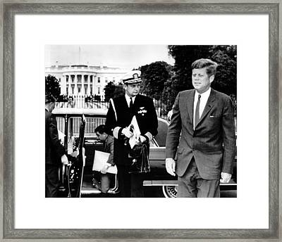 John F. Kennedy Exits Limo In Front Of White House Framed Print by Retro Images Archive