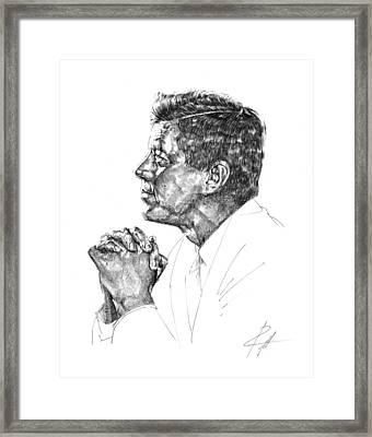 John F. Kennedy Framed Print by  Gerald Piggott