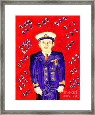 Framed Print featuring the painting John F Kennedy In Uniform Bright Red Background by Richard W Linford
