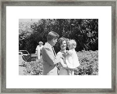John F. Kennedy Jacqueline And Caroline Framed Print by The Harrington Collection