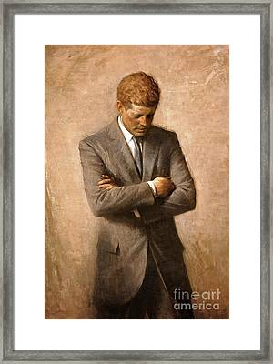 John F Kennedy - Official Portrait Framed Print by Pg Reproductions