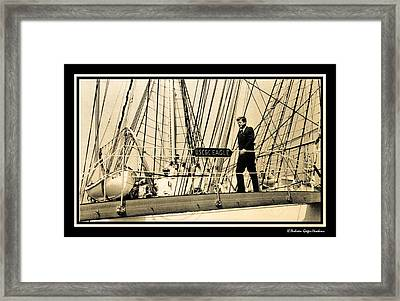 John F Kennedy On Coast Guard Eagle Framed Print
