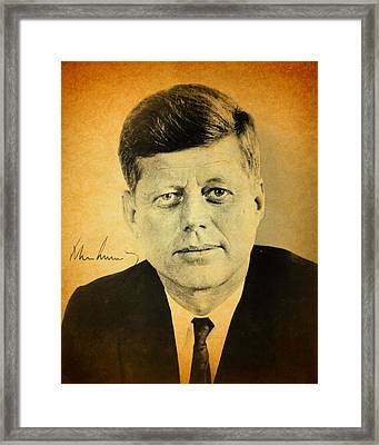 John F Kennedy Portrait And Signature Framed Print